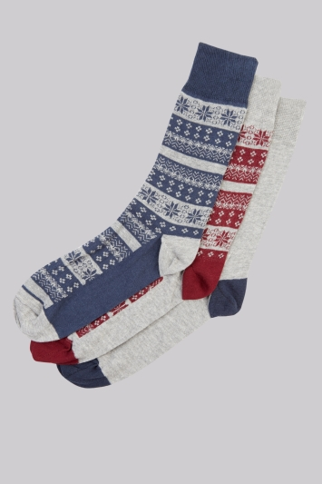 Moss London Grey Fairisle 3 Pack Socks