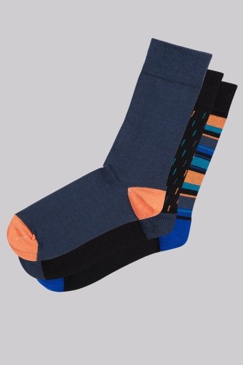 Moss London Orange Multi 3 Pack Socks