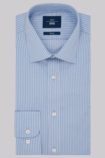Moss 1851 Slim Fit Blue Single Cuff Twill Stripe Shirt
