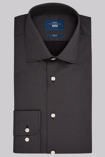 Moss 1851 Slim Fit Charcoal & Black Single Cuff Diamond Pattern Shirt