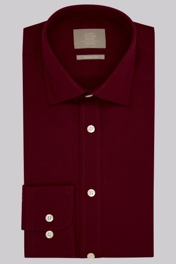 Savoy Taylors Guild Regular Fit Wine Single Cuff Oxford Texture Shirt