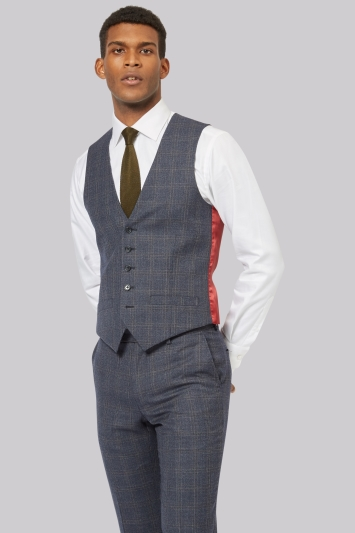 Ted Baker Tailored Fit Blue with Orange Waistcoat