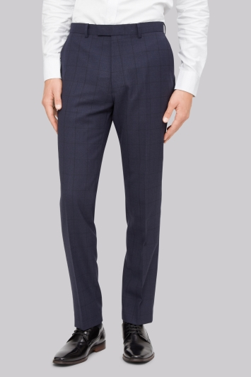 French Connection Slim Fit Blue Windowpane Trousers
