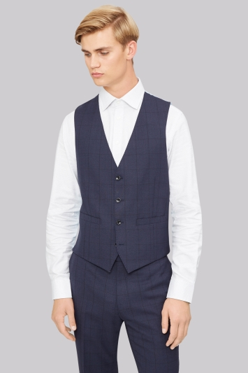 French Connection Slim Fit Blue Windowpane Waistcoat