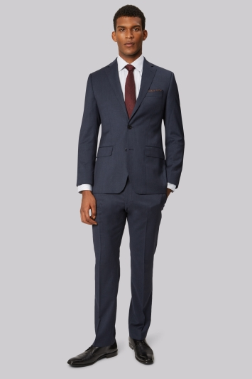 Moss 1851 Tailored Fit Blue Marl Twill Jacket