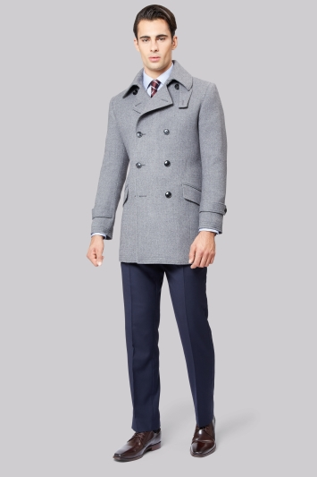Hardy Amies Grey Premium Reefer Coat