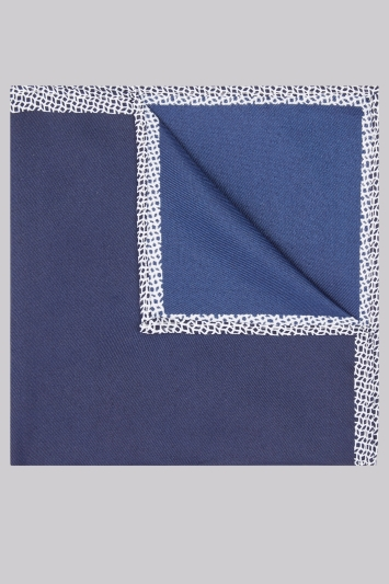 Moss London Navy Geo Border Pocket Square