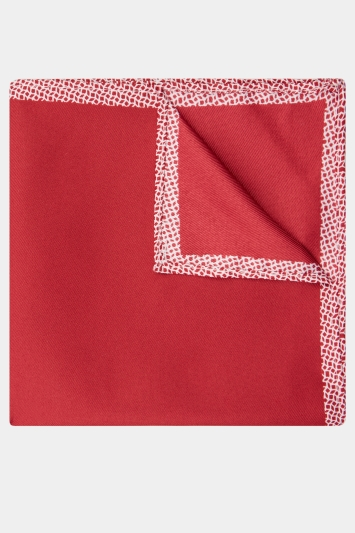 Moss London Red Geo Border Pocket Square