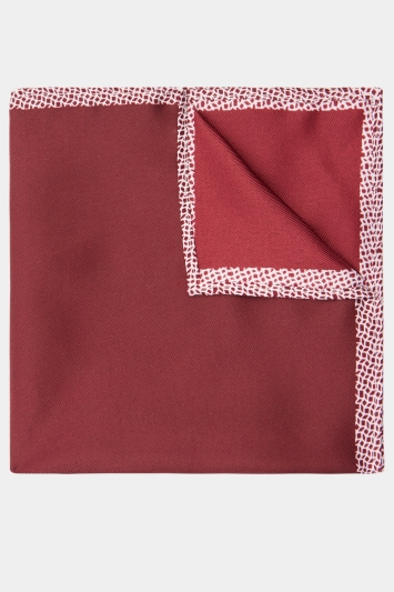 Moss London Wine Geo Border Pocket Square