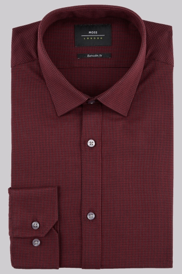 Moss London Extra Slim Fit Wine Single Cuff Puppytooth Texture Shirt