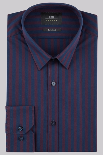 Moss London Extra Slim Fit Wine Single Cuff Wide Stripe Shirt