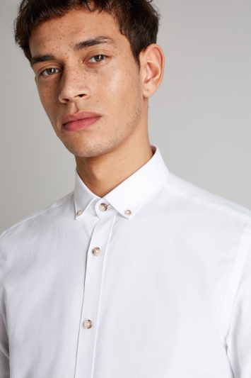 Moss London Extra Slim Fit White Single Cuff Oxford Button Down Casual Shirt