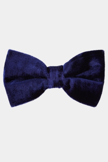 Moss London Navy Velvet Bow Tie