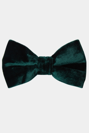 Moss London Green Velvet Bow Tie