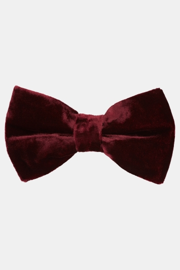 Moss London Berry Velvet Bow Tie