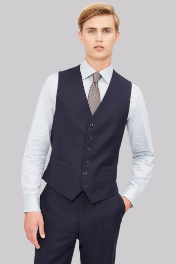 Hardy Amies Tailored Fit Navy Waistcoat