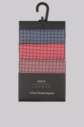 Moss London Multi Geo 3 Pack Pocket Squares