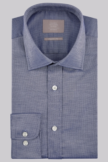 Savoy Taylors Guild Regular Fit Navy Single Cuff Oxford Texture Shirt