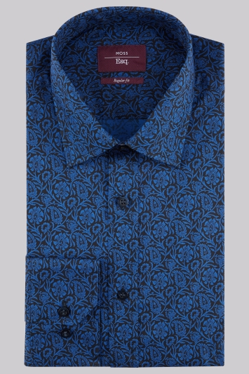 Moss Esq Regular Fit Navy Single Cuff Floral Print Shirt