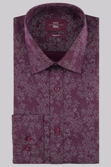Moss Esq Regular Fit Aubergine Single Cuff Pin Dot Print Shirt