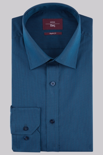 Moss Esq Regular Fit Teal Single Cuff Stripe Shirt
