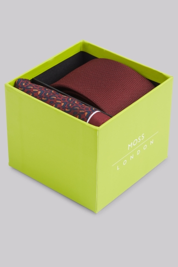 Moss London Wine Animal Print Tie & Pocket Square Gift Set