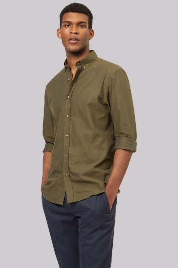Moss 1851 Slim Fit Green Flannel Button Down Casual Shirt
