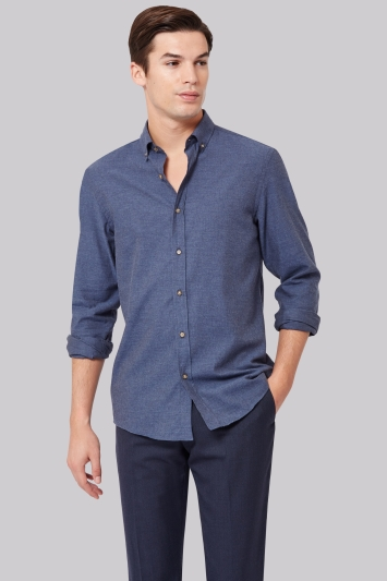 Moss 1851 Slim Fit Blue Flannel Button Down Casual Shirt