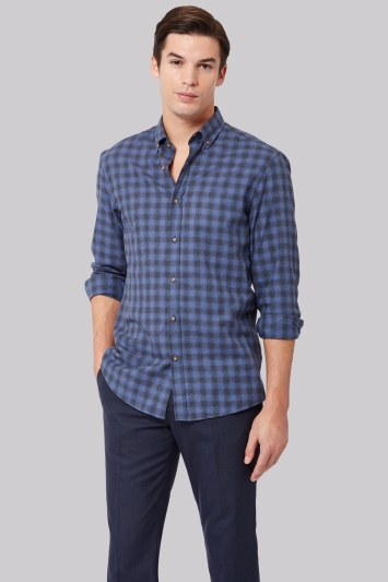 Moss 1851 Slim Fit Blue Flannel Check Button Down Casual Shirt