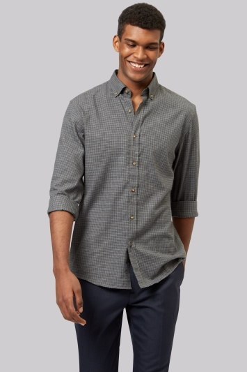 Moss 1851 Slim Fit Charcoal Flannel Check Button Down Casual Shirt