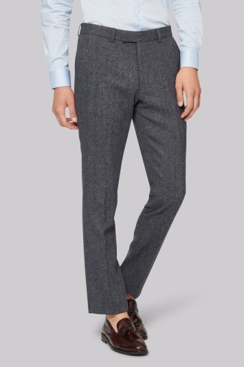 Moss London Mid Grey Donegal Trousers
