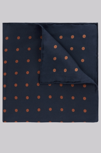 Hardy Amies Navy & Toffee Spot Silk Pocket Square
