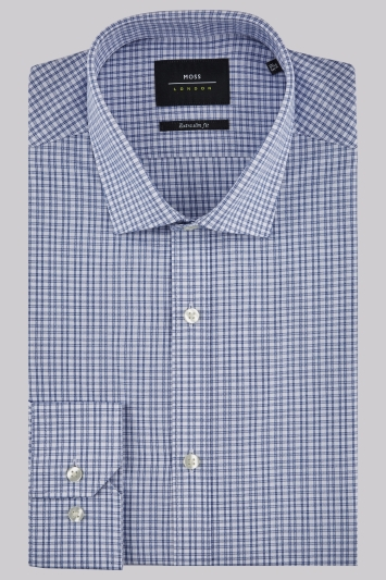Moss London Extra Slim Fit Blue Single Cuff Check Shirt