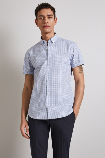 Moss London Extra Slim Fit Blue Short Sleeve Button Down Check Shirt