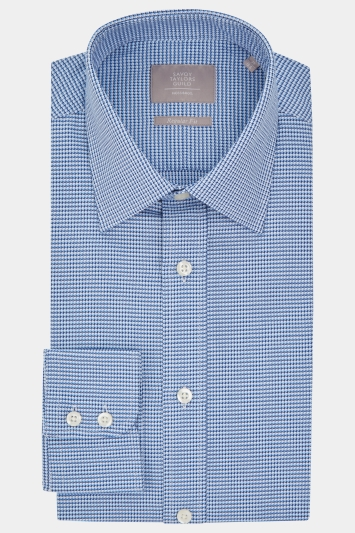 Savoy Taylors Guild Regular Fit Blue Single Cuff Textured Shirt