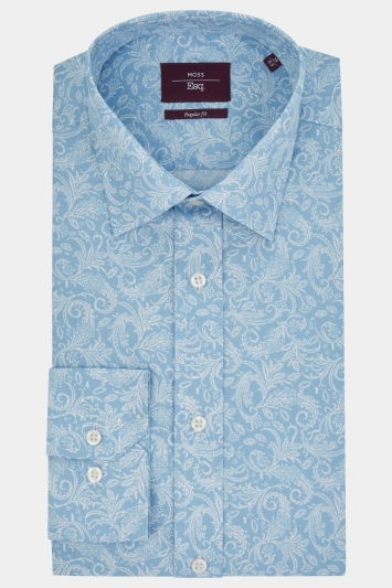 Moss Esq. Regular Fit Blue Single Cuff Paisley Print Shirt