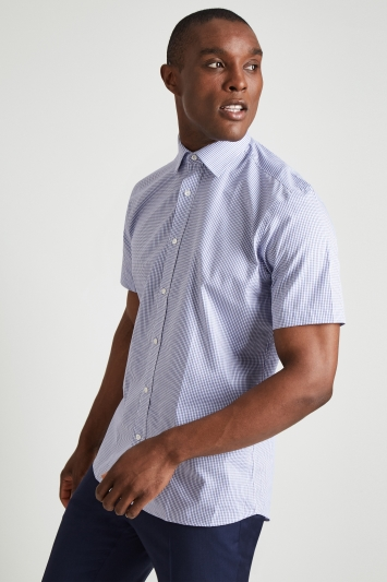 Moss Esq. Regular Fit Purple & Blue Short Sleeve Check Shirt