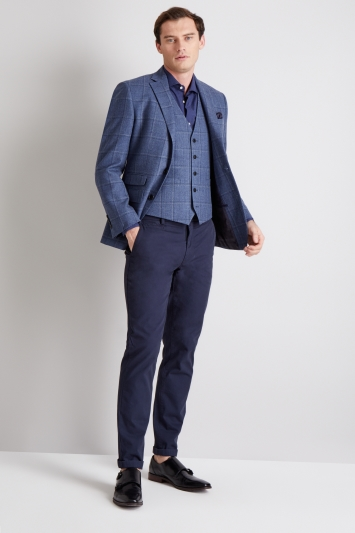 Moss 1851 Tailored Fit Blue White Windowpane Jacket