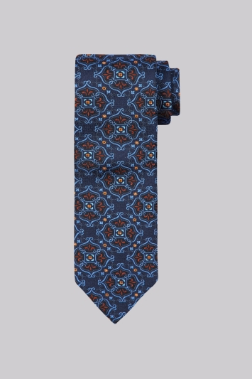 Moss 1851 Navy & Orange Medallion Silk Tie