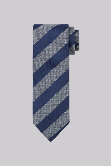 Moss 1851 Navy & Grey Stripe Tie