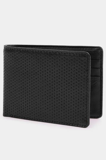 Moss London Black Leather Textured Wallet