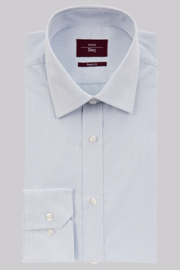 Moss Esq. Regular Fit Sky Single Cuff Stripe Shirt
