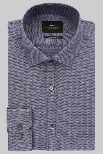 Moss London Extra Slim Fit Navy Single Cuff Textured Shirt