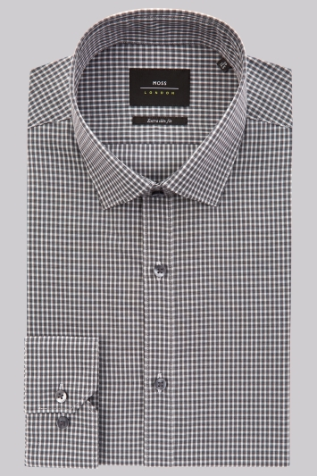 Moss London Extra Slim Fit Charcoal Single Cuff Check Shirt