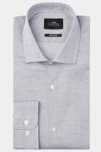 Moss London Premium Extra Slim Fit Black & White Single Cuff Textured Check Shirt