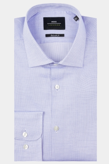 Moss London Premium Extra Slim Fit Blue Single Cuff Textured Check Shirt