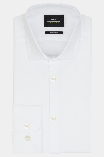 Moss London Premium Extra Slim Fit White Single Cuff Puppytooth Shirt