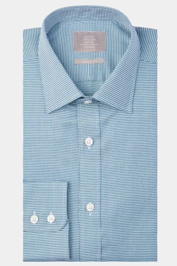 Savoy Taylors Guild Regular Fit Green Single Cuff Tonal Spot Shirt