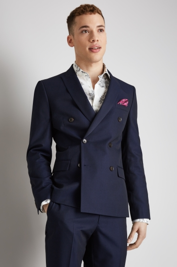 Moss London Skinny Fit Ink Double Breasted Jacket