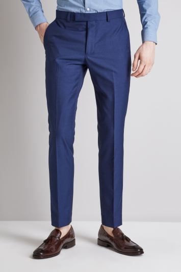 Moss London Skinny Fit Blue Trousers